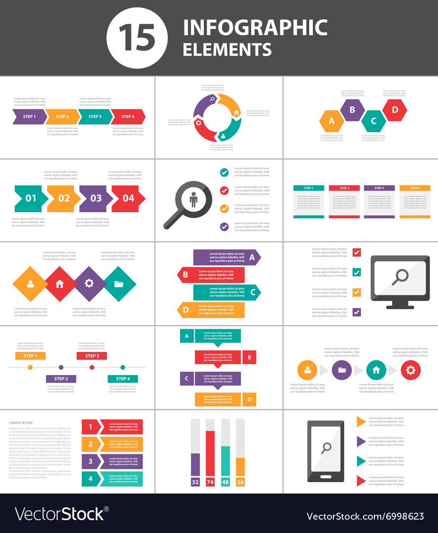 Colorful infographic elements presentation set vector