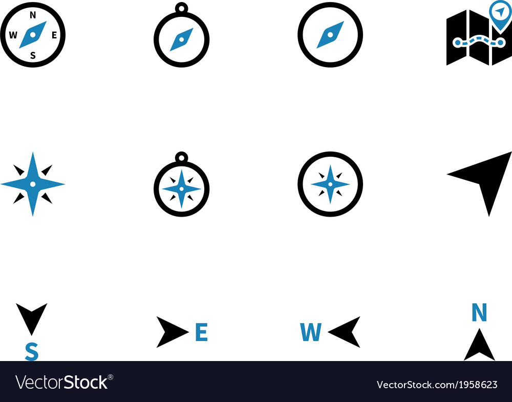 Compass duotone icons on white background vector