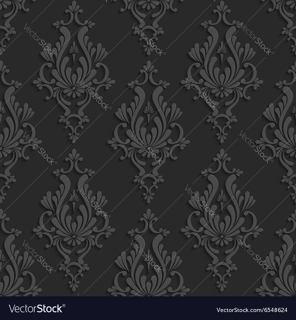 Black 3d floral damask seamless pattern vector