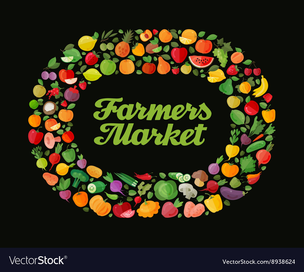 Fruit and vegetable background modern flat vector