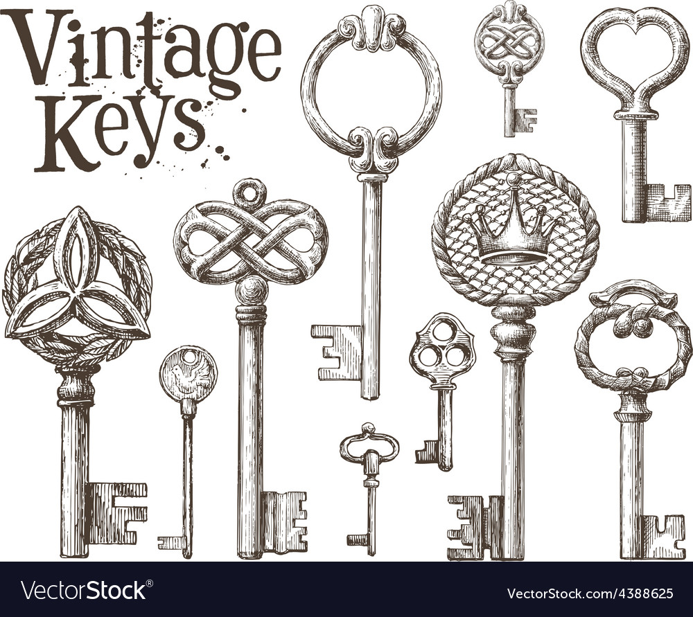 Retro key logo design template antiques or vector