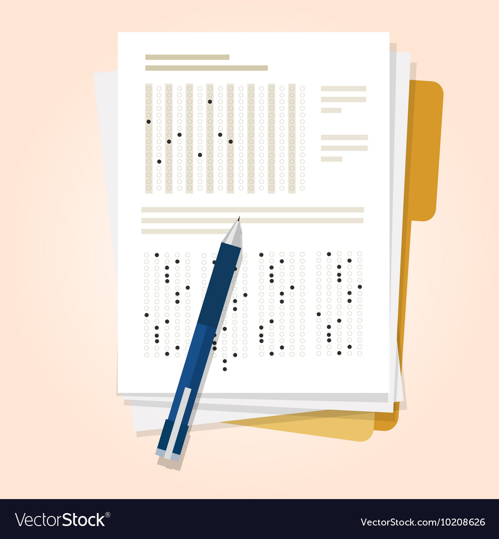 Exams quiz test paper with pencil multiple choice vector