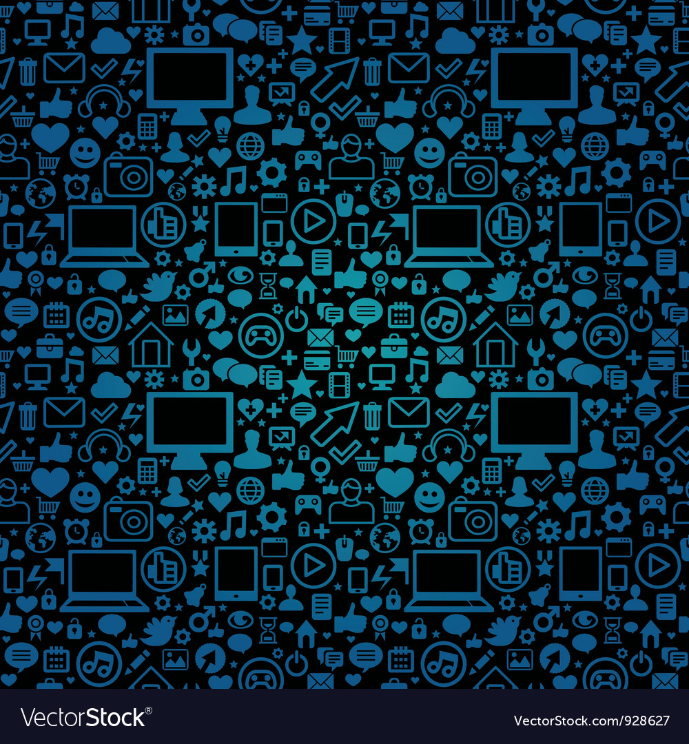 Seamless pattern with social media and technology vector