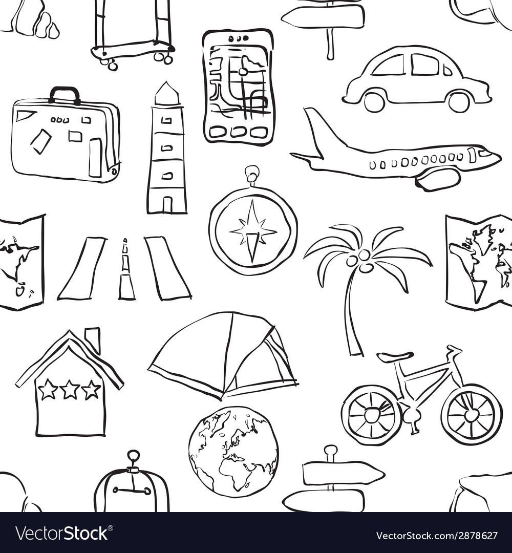 Seamless sketch travel pattern vector