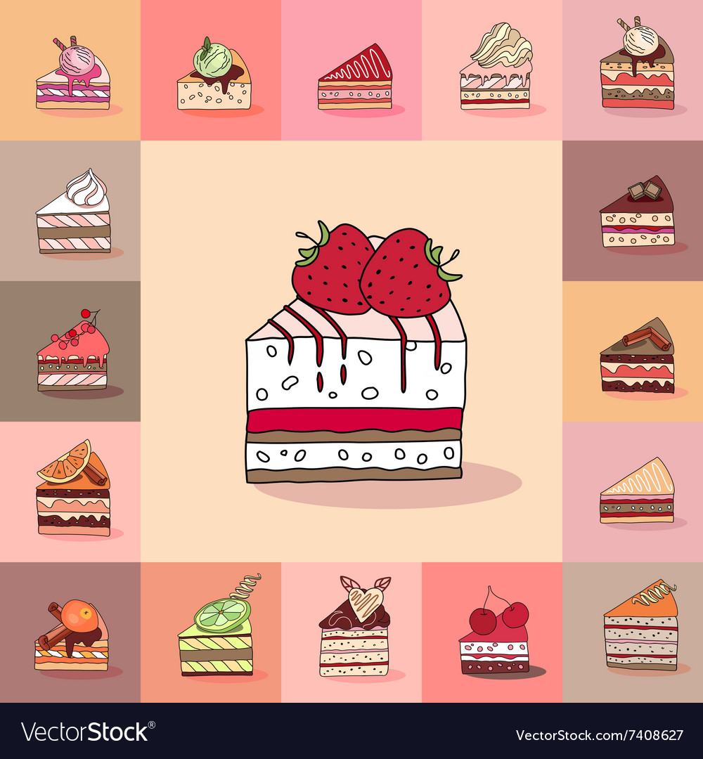 Template with different kinds of cake slices vector