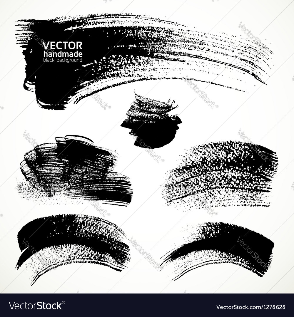 Figured brushstrokes brush and ink vector