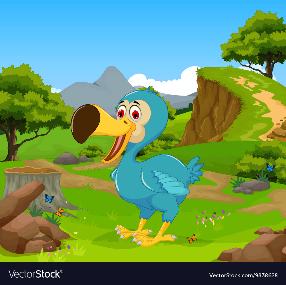 Funny dodo bird cartoon in the jungle vector