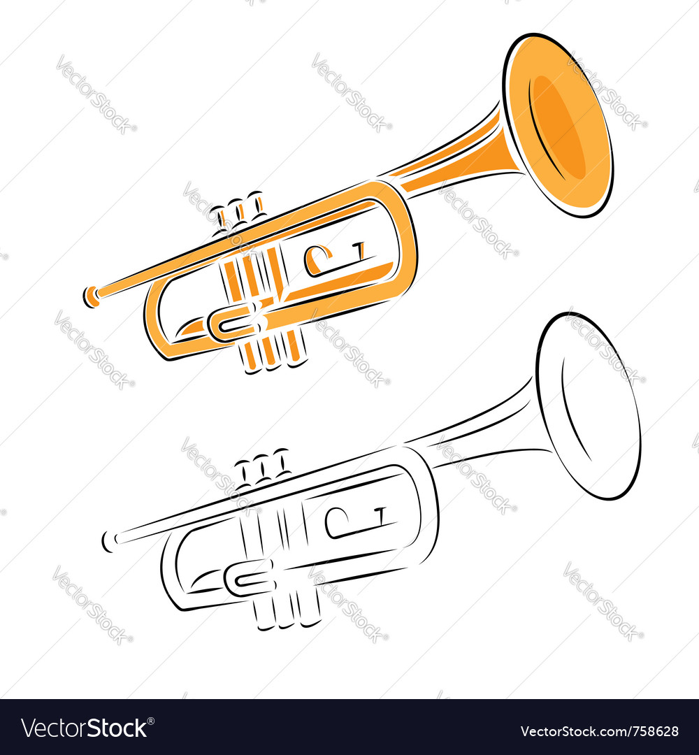 Trumpet set isolated on white vector