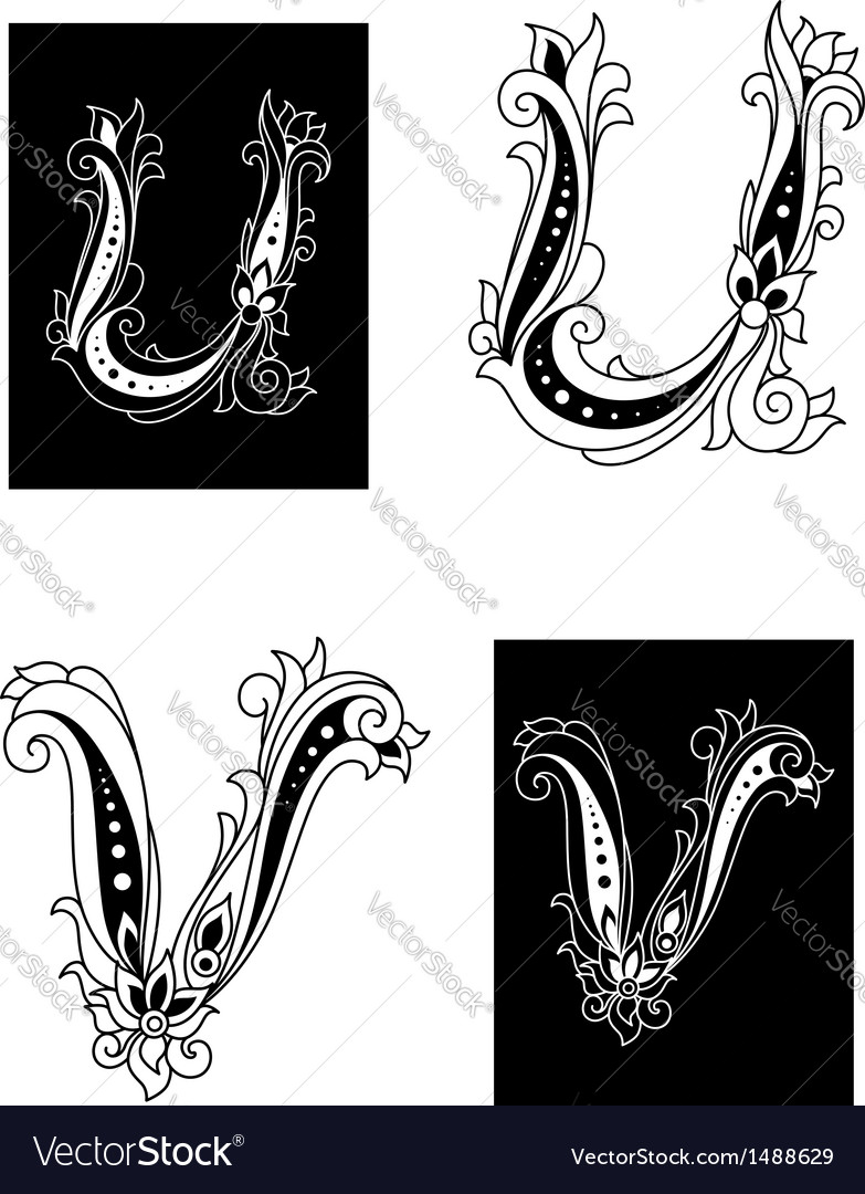 U and v letters in retro floral style vector