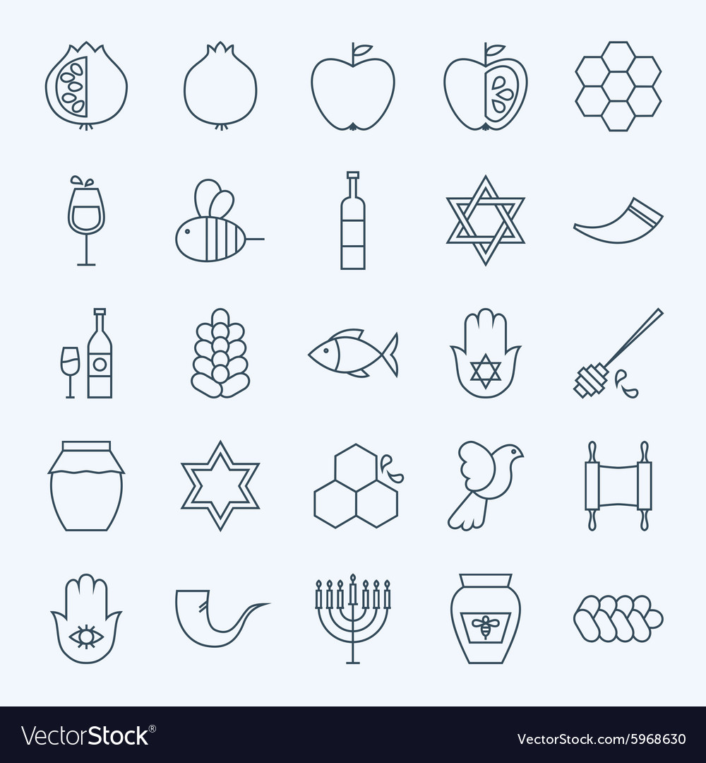 Line holiday rosh hashanah icons set vector