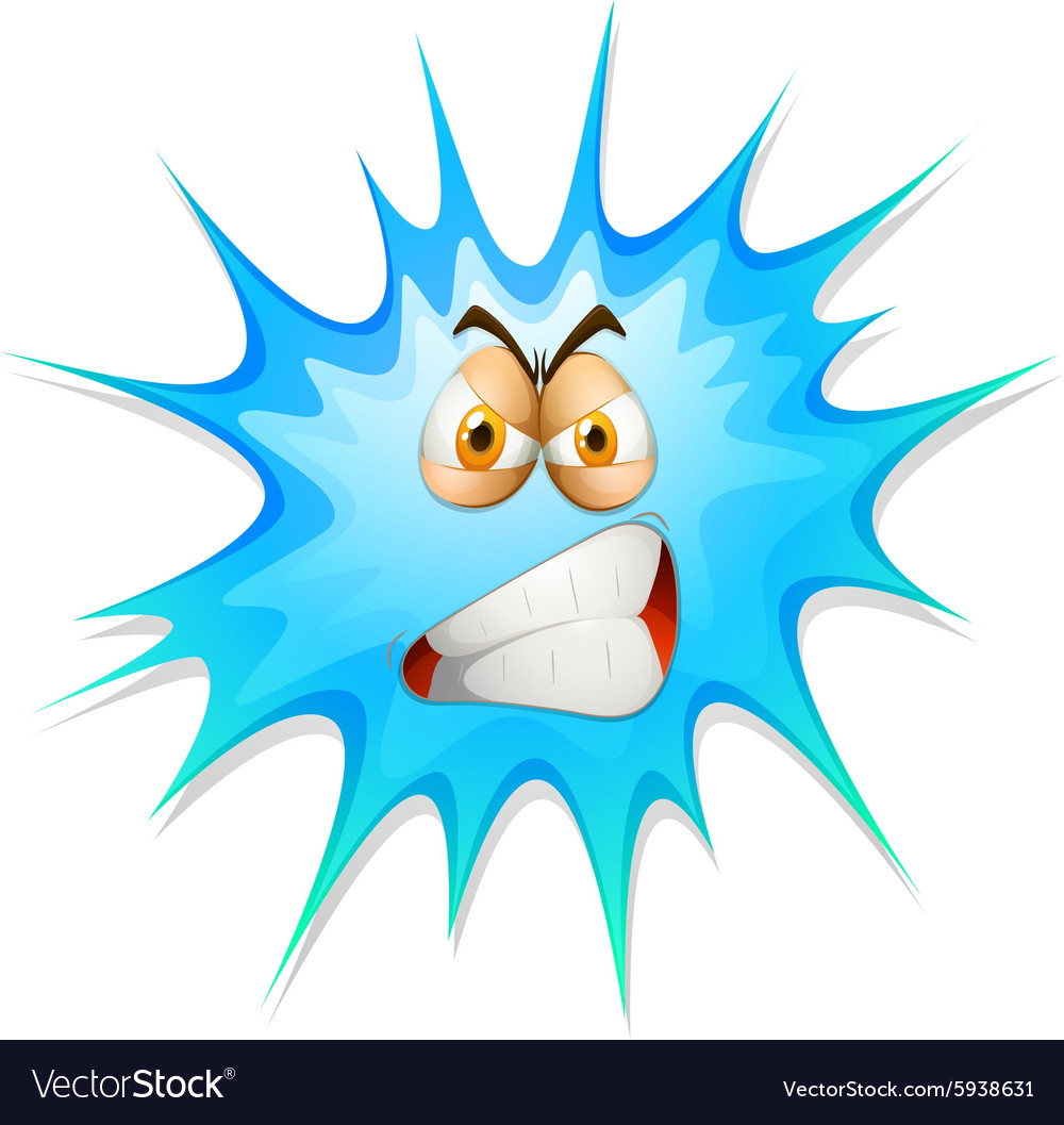 Angry face on blue splash vector