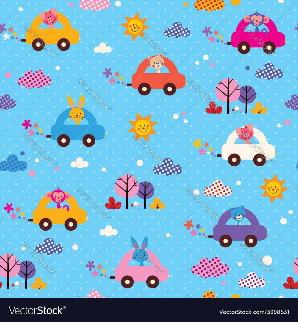 Cute animals driving cars kids pattern vector