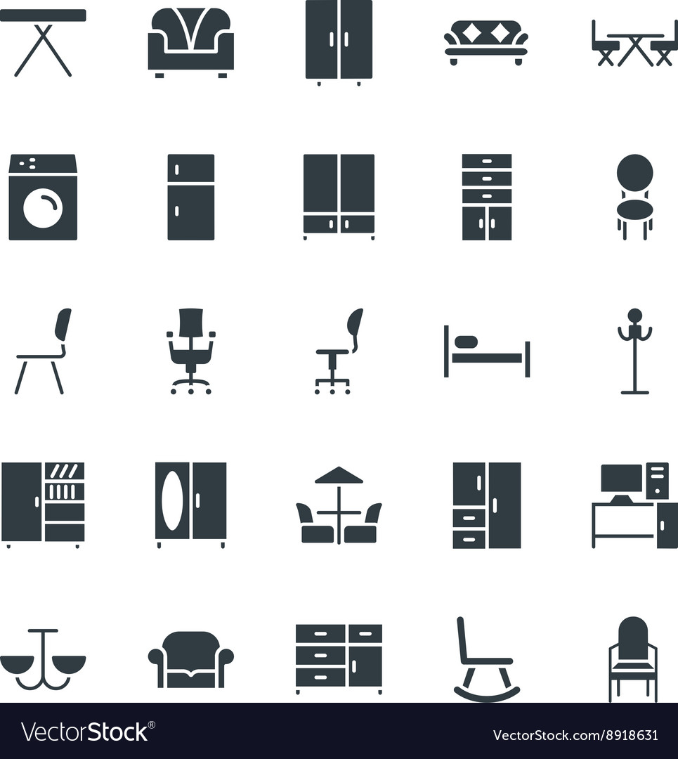 Furniture cool icons 2 vector