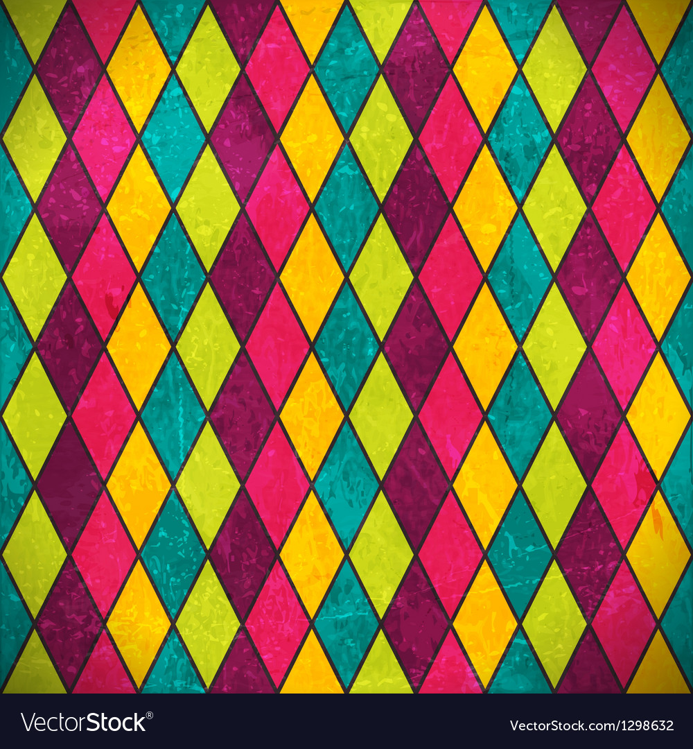 Colorful rhombus grunge background vector