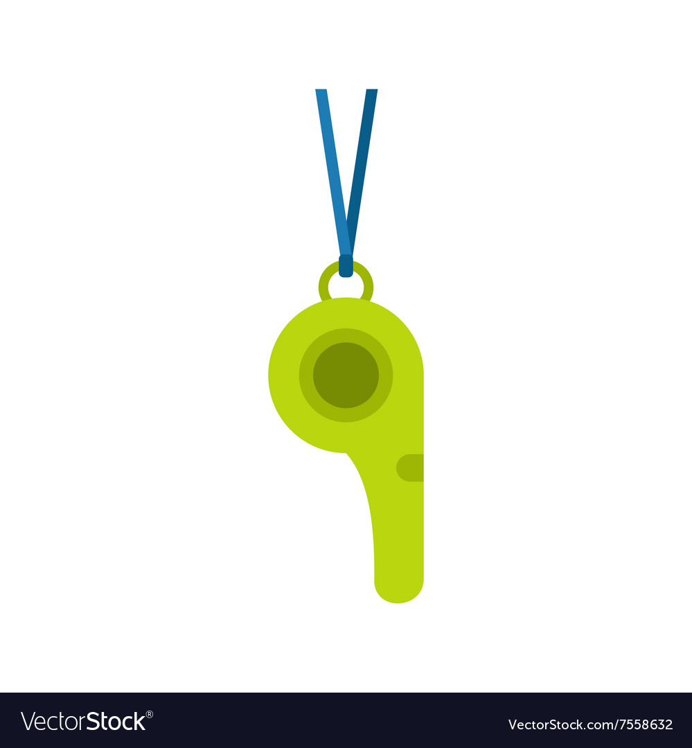 Green sport whistle flat icon vector