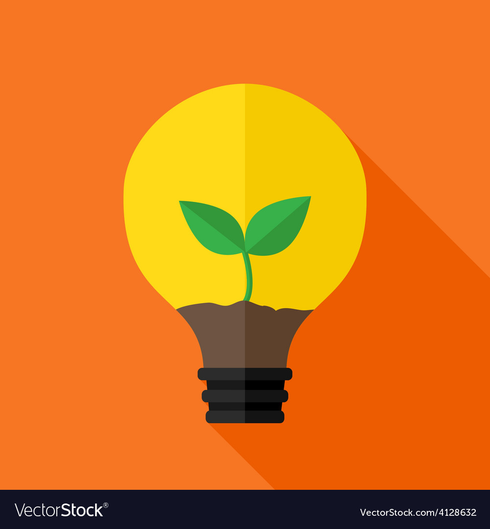 Growing plant inside idea lamp vector