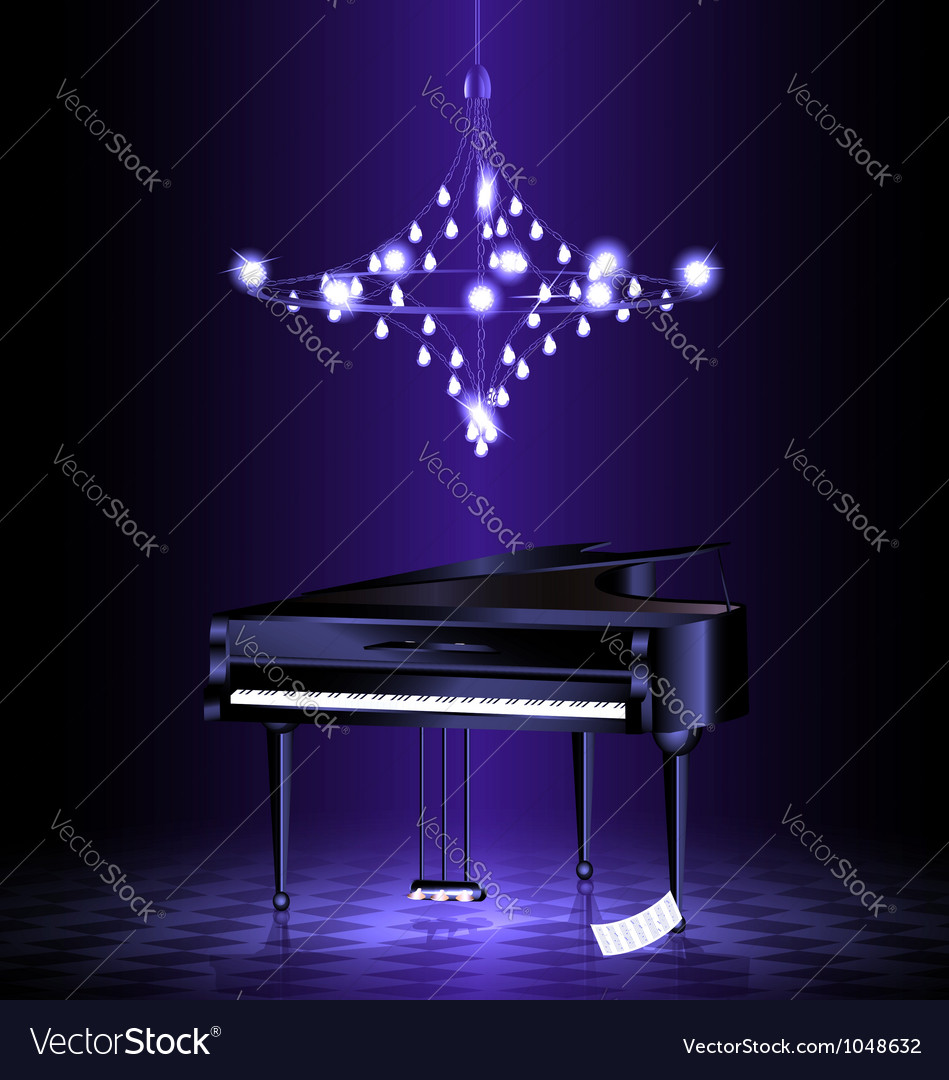 Piano in the dark room vector