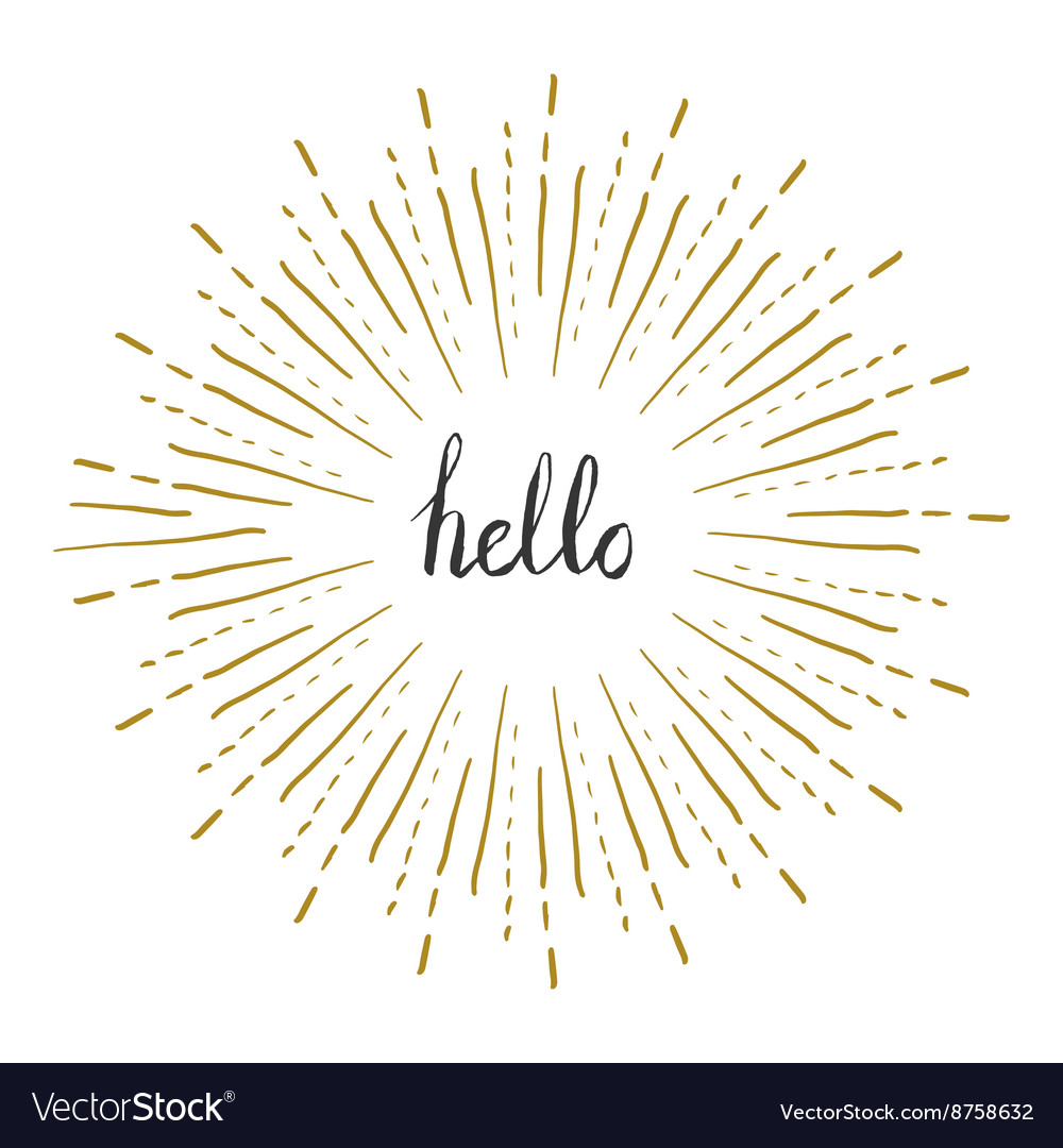 Sunburst frame with hello text retro frame vector