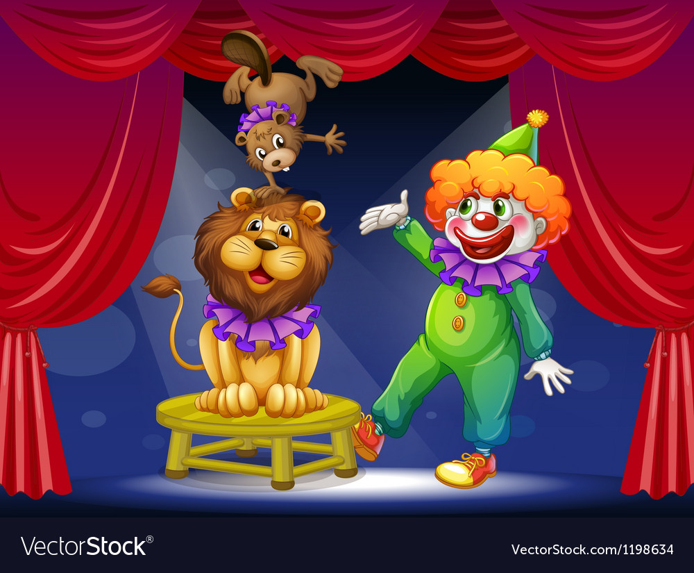 A clown with animals at the stage vector