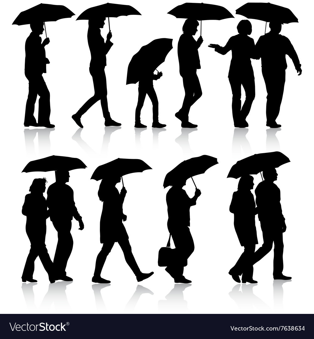 Black silhouettes man and woman under umbrella vector