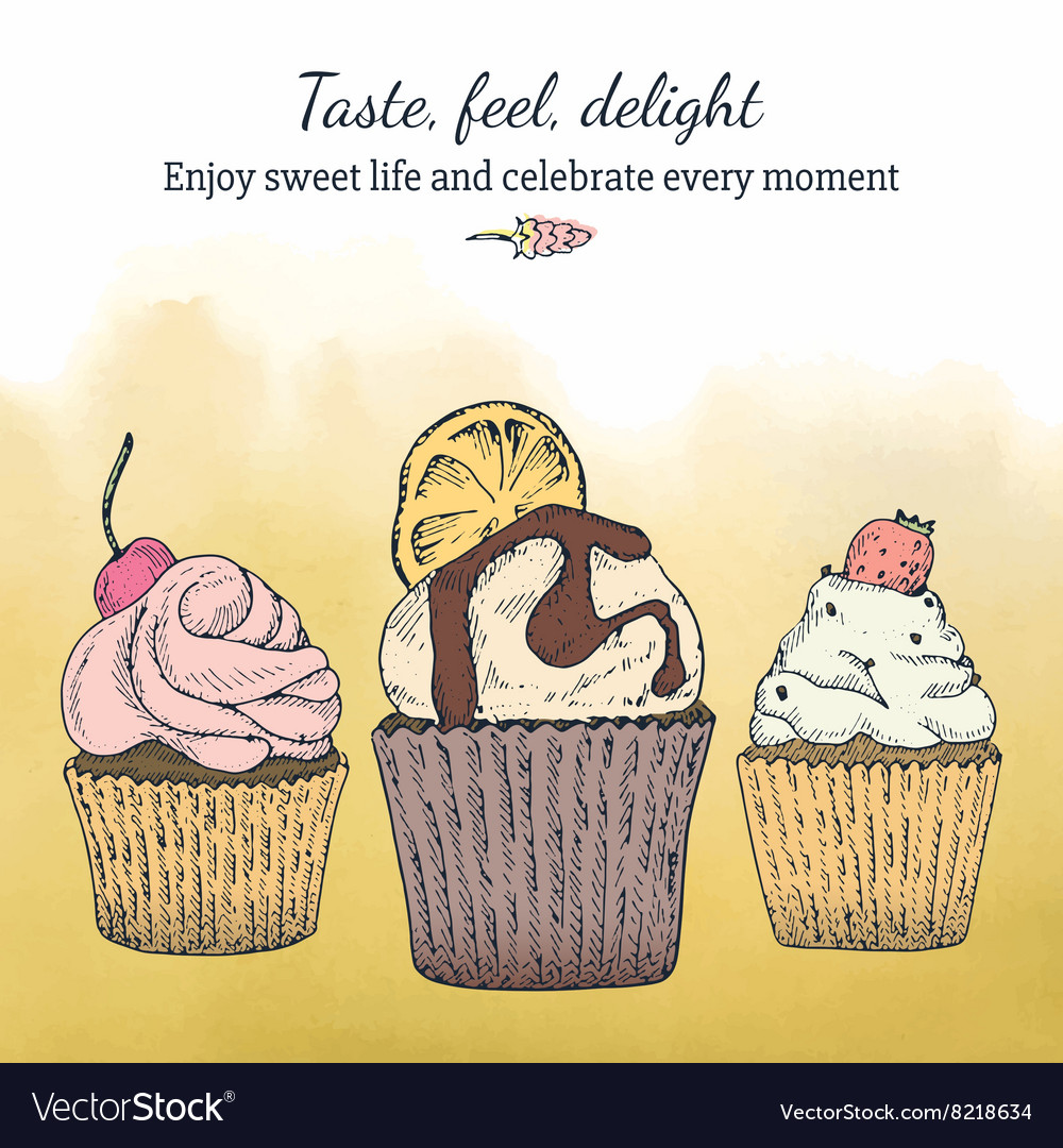 Card template with cupcakes vector