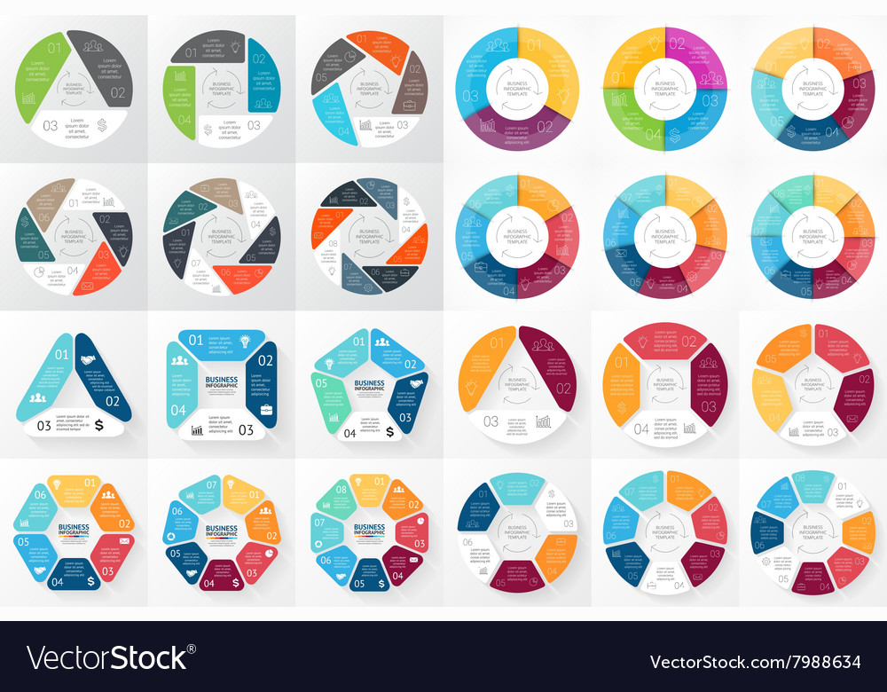 Circle arrows infographic 3 4 5 6 7 8 vector