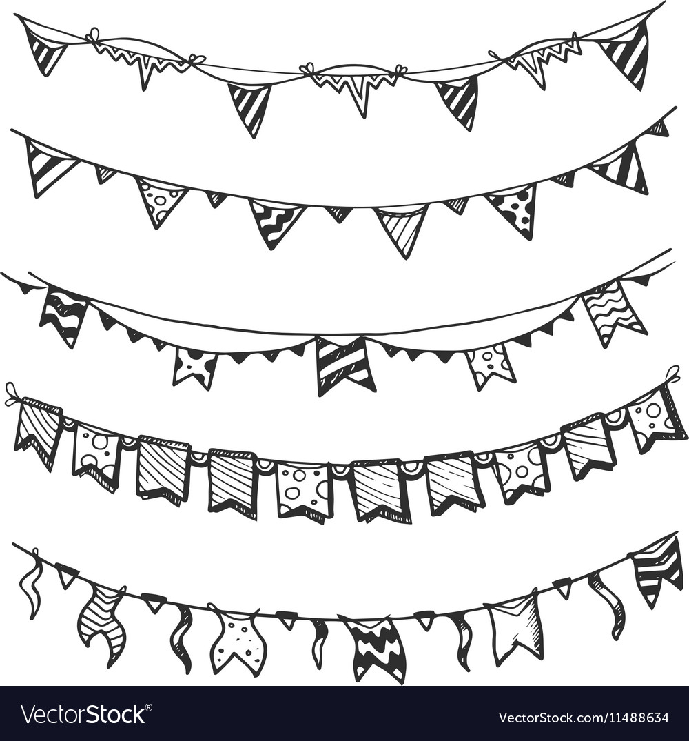 Holiday garlands with light bulbs party lights and vector