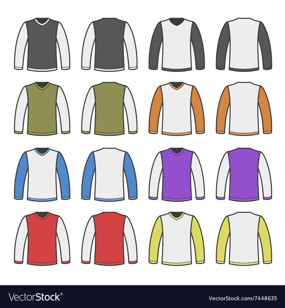 Color men tshirt long sleeved shirts set vector