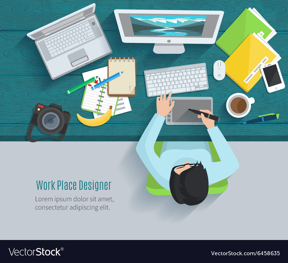 Designer workplace flat vector