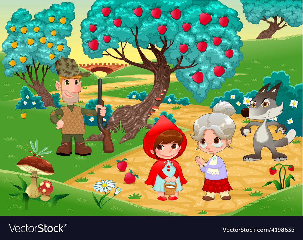 Little red hiding hood scene vector