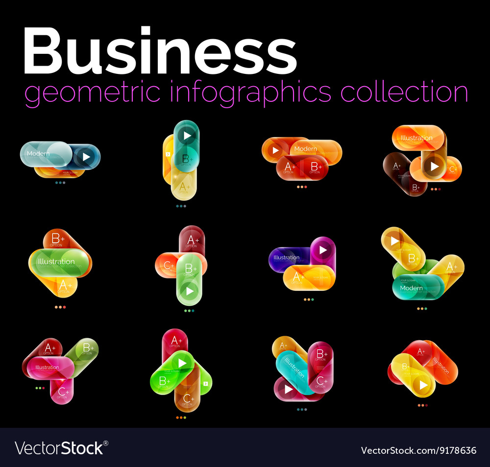 Collection of round shaped geometric infographics vector