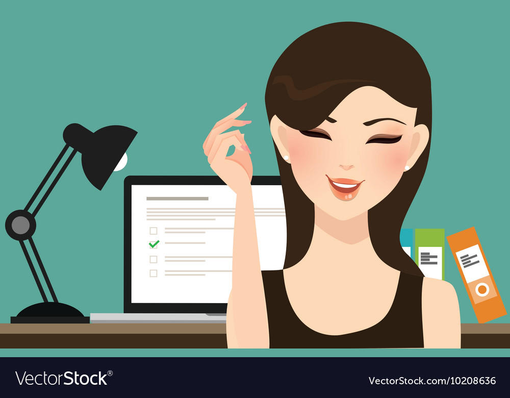 Woman girl do online test exams quiz with computer vector