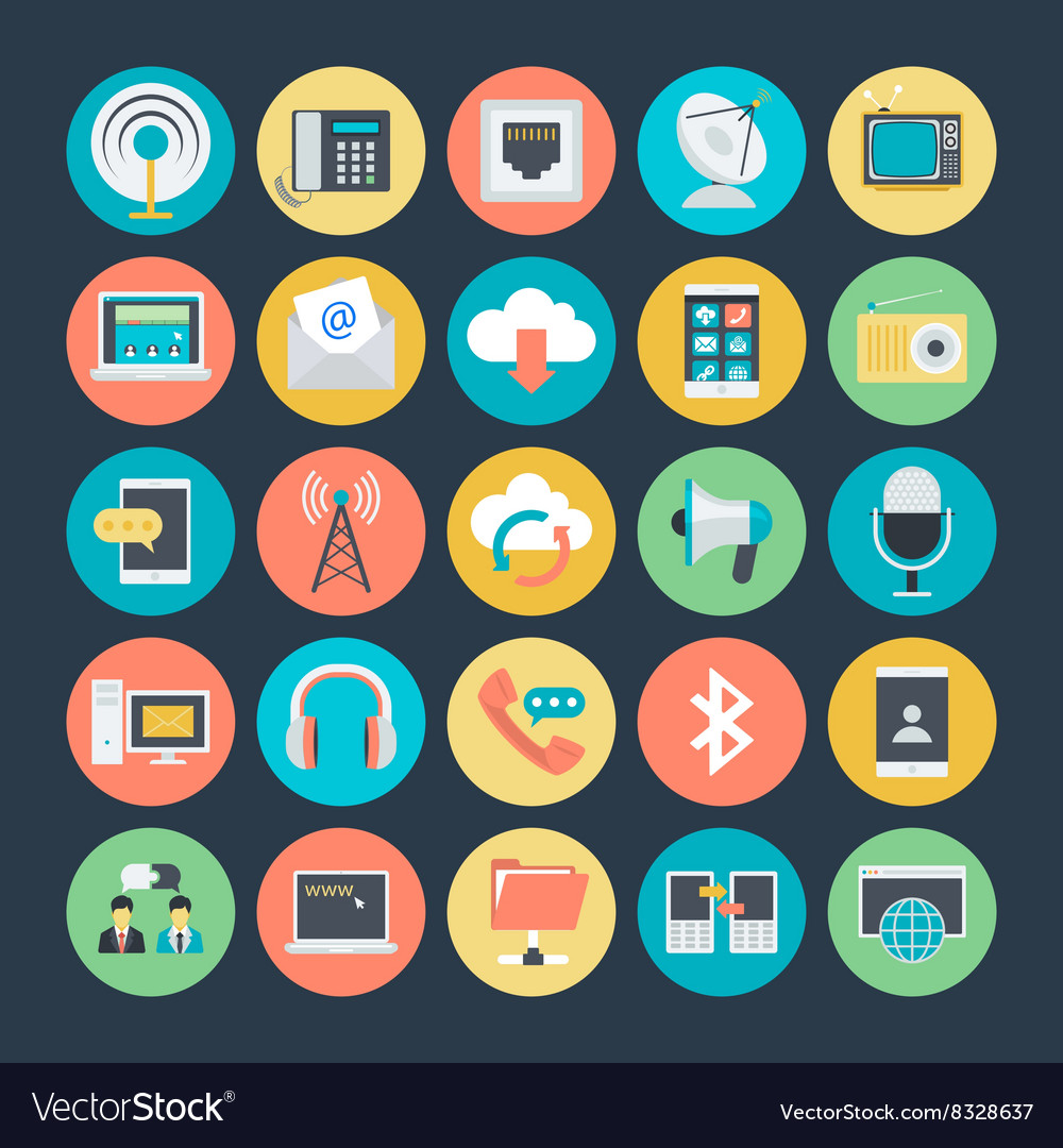 Communication colored icons 1 vector
