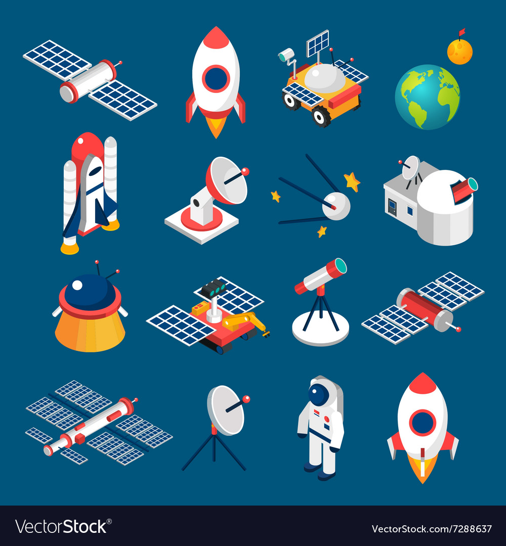 Space isometric icons vector