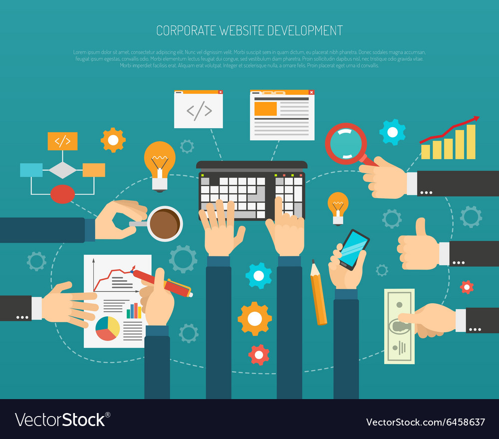Website development process vector