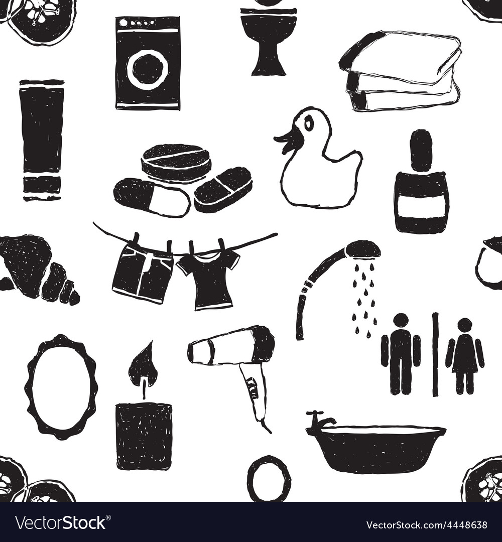 Doodle bathroom seamless pattern vector