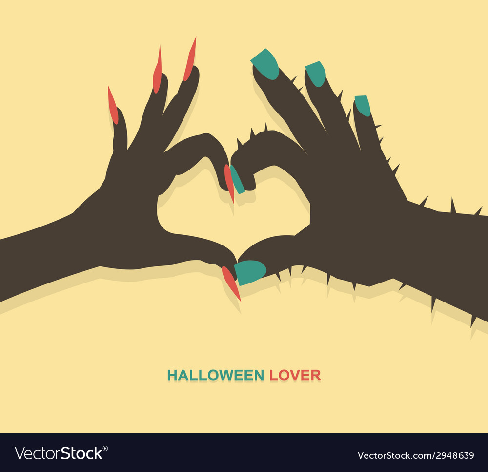 Monster hands make heart shape vector