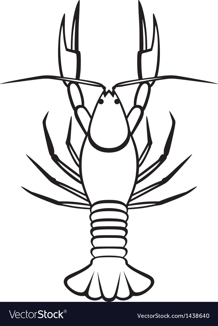 Silhouette crayfish vector