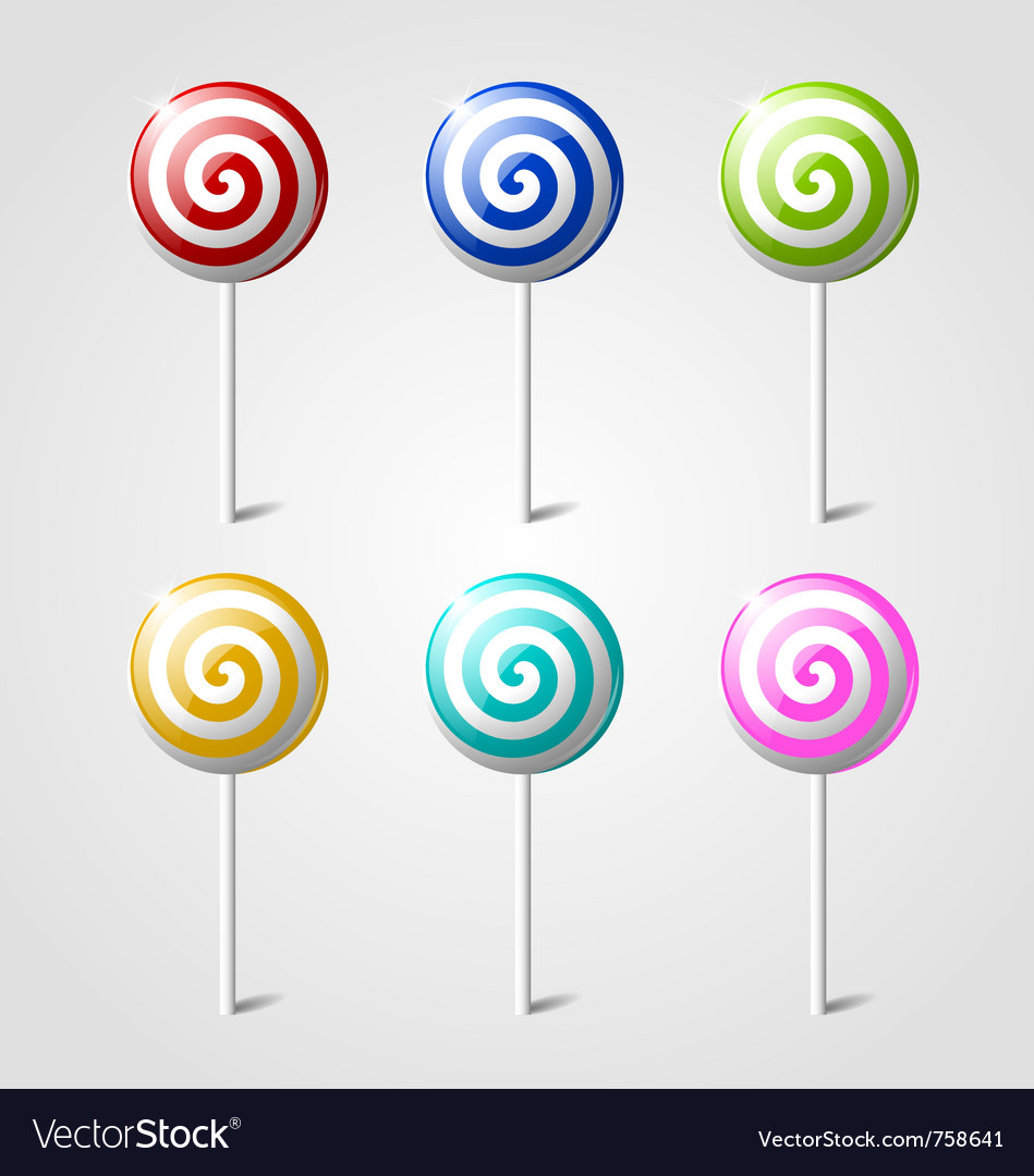 Sweet glossy lollipops vector