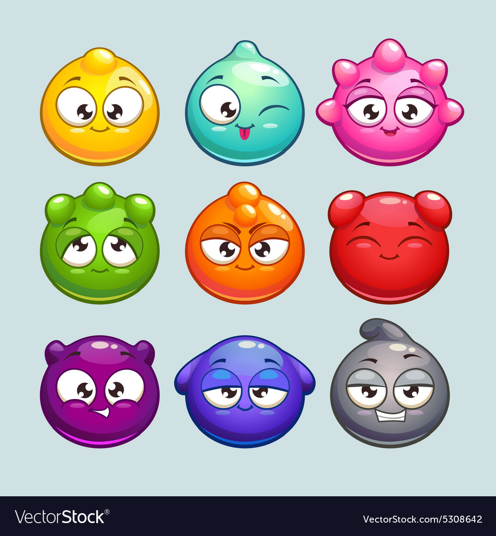 Jelly ball characters vector