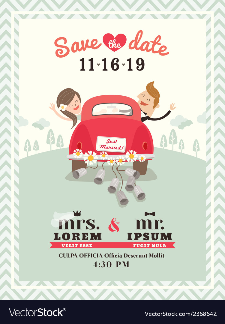 Just married car wedding invitation vector