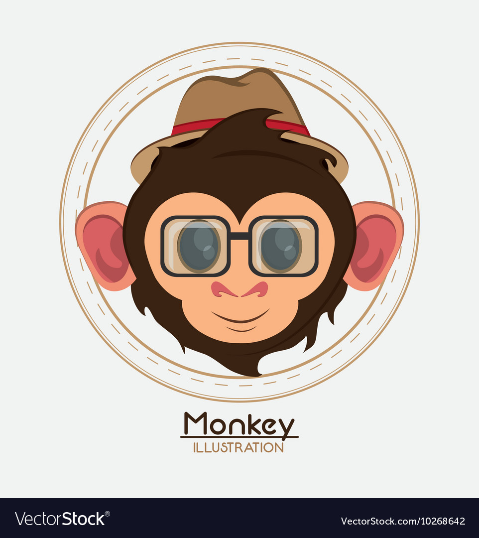 Monkey face glasses hat cartoon animal design vector