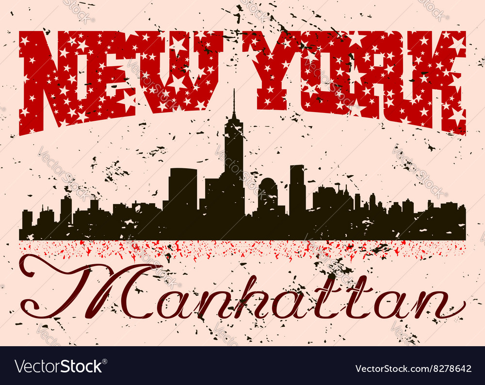 New york city typography graphic with grunge retro vector