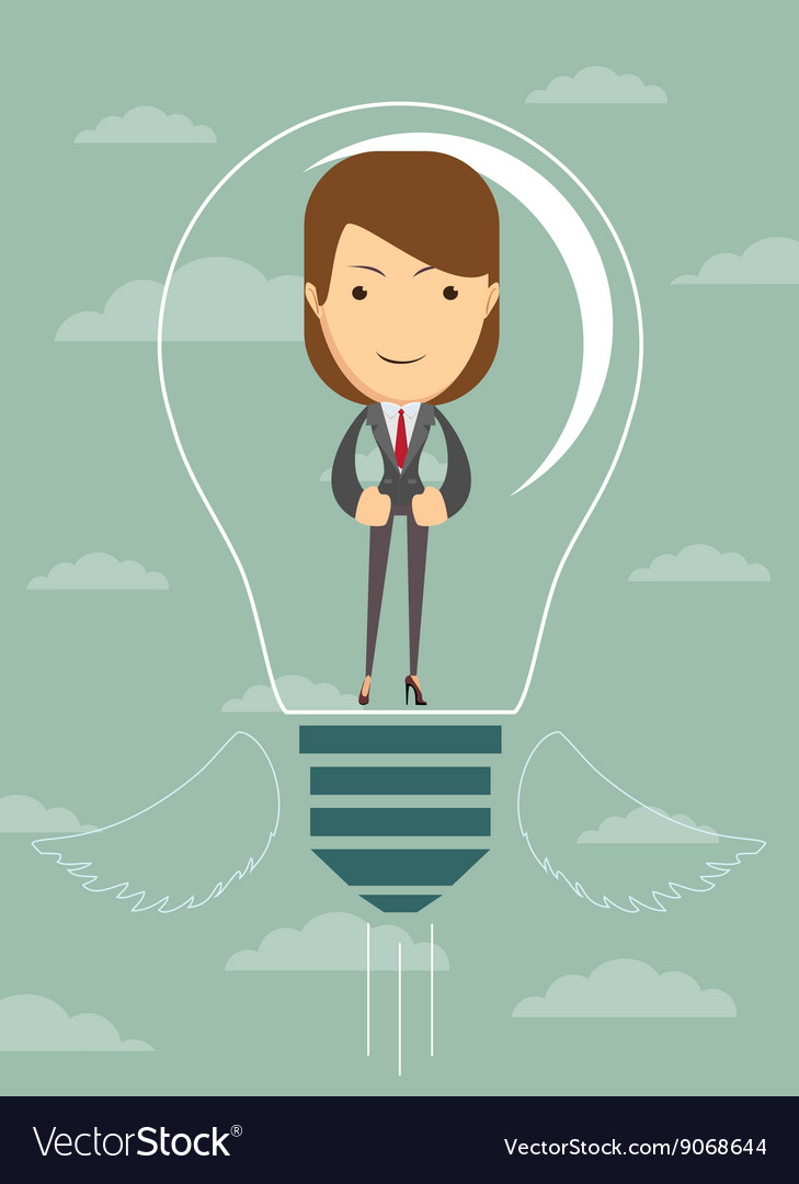 Businesswoman create idea vector