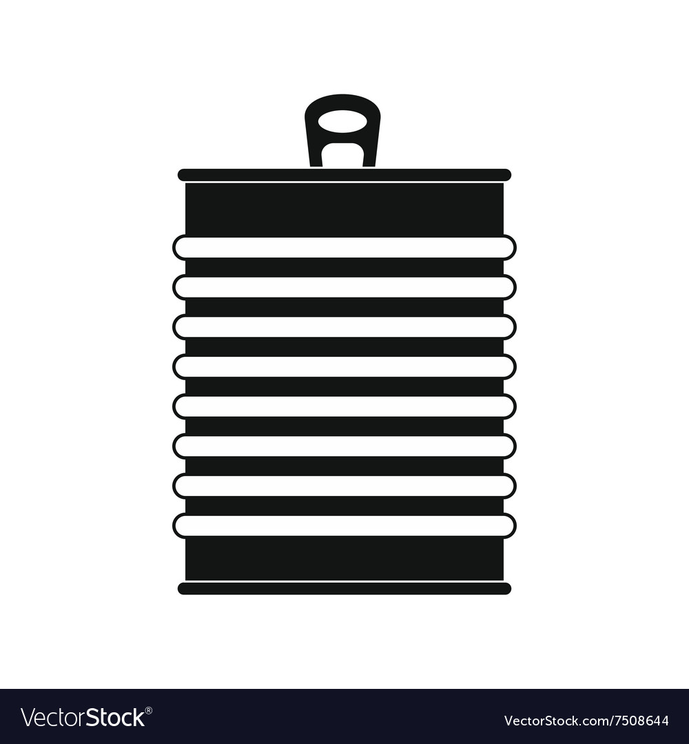 Tin can black simple icon vector