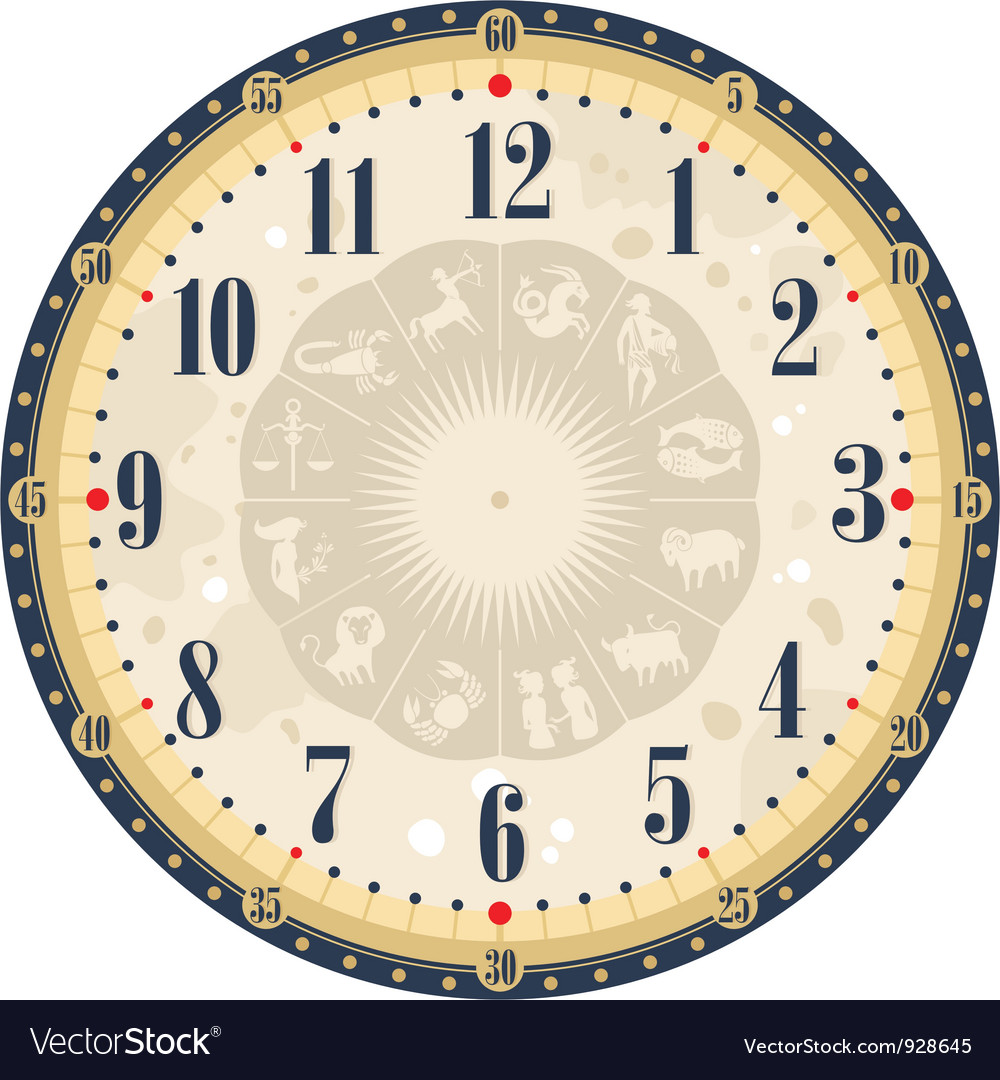 Horoscope clock face vector