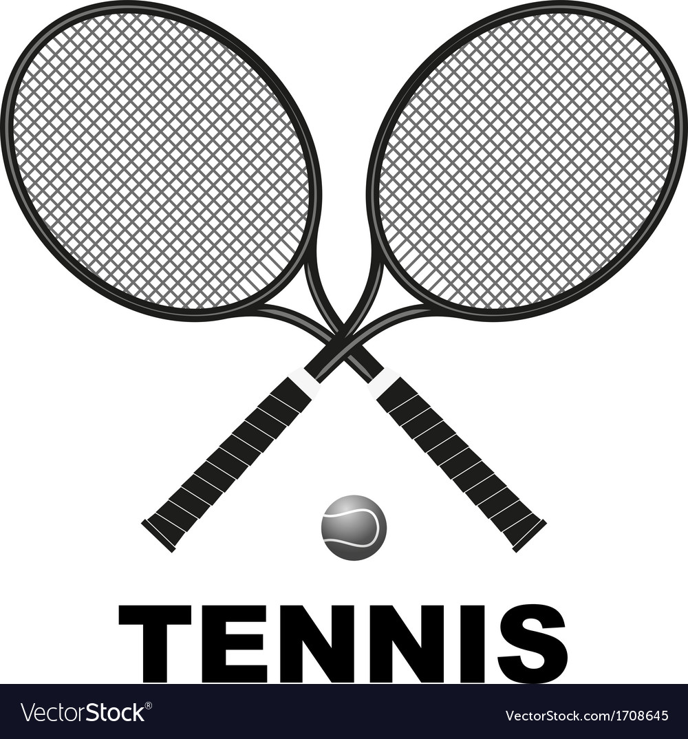 Tennis rackets and ball vector