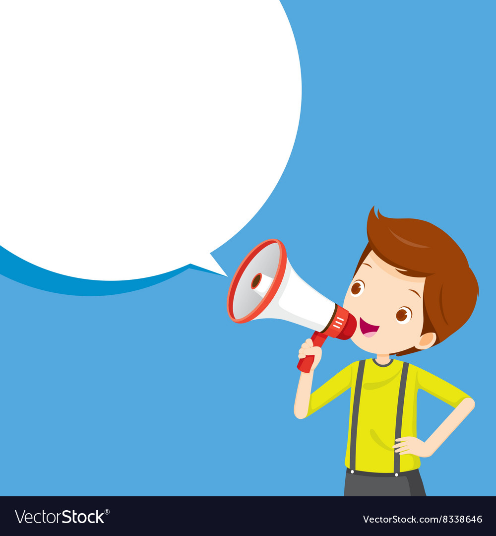 Boy with megaphone announcement vector