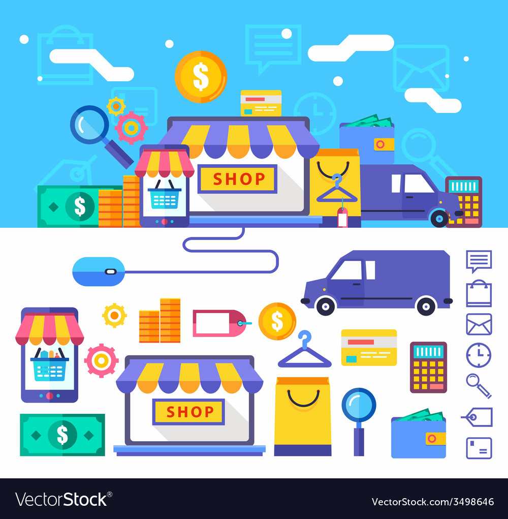 Online shopping collection concept in stylish vector