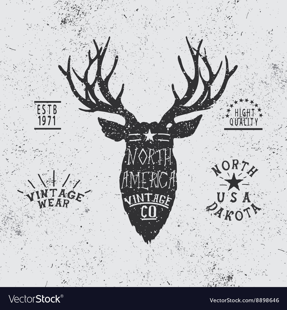 Vintage label with deer head vector